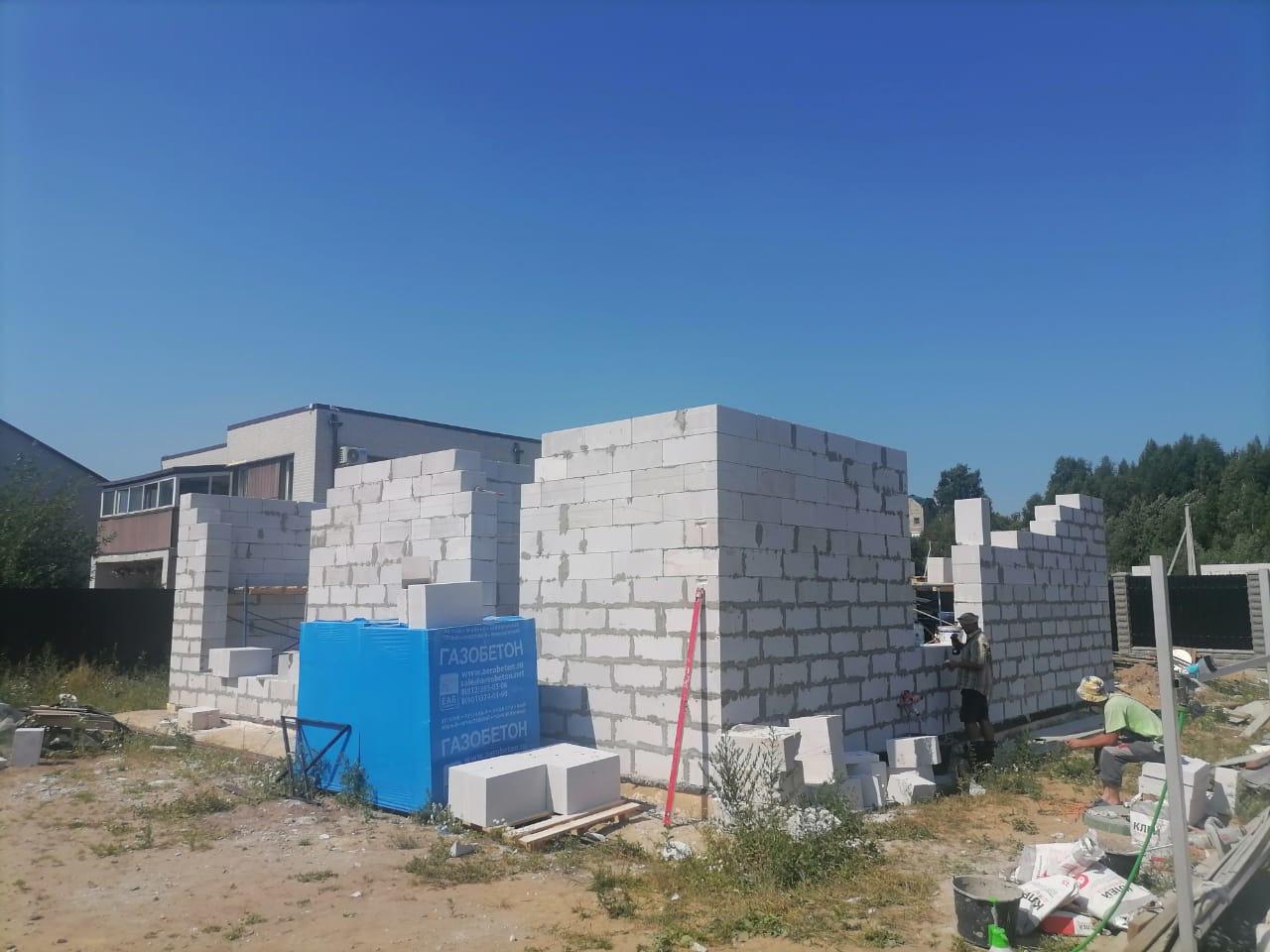 Строительство бань исаун. Газобетонные работы