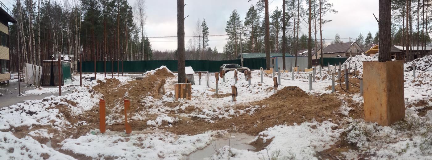 Строительство фундамента. Белоостров, 2015 год, ДНП Памир