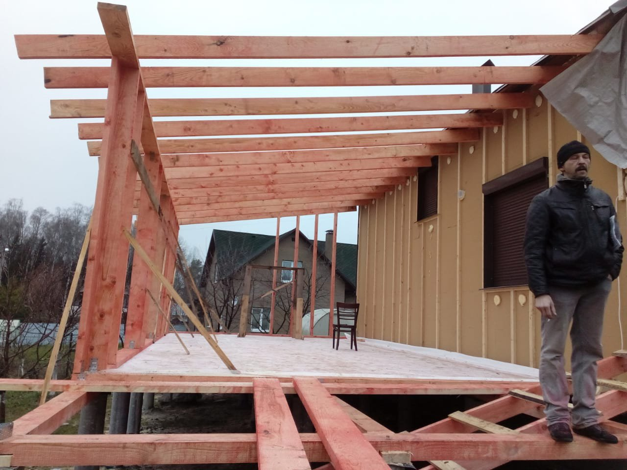 Строительство домов и коттеджей. Строительство пристройки в Боровске Калужской области